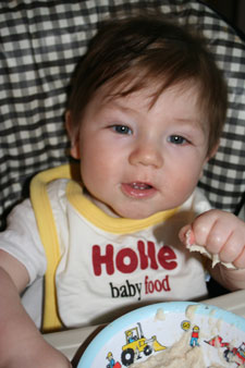 A weaning baby eating baby porridge - kindly sent in by a customer