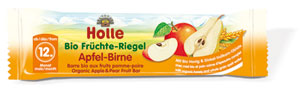 Holle's organic apple and pear snack bar for babies and toddlers