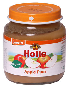 Holle's organic pure apple baby jar