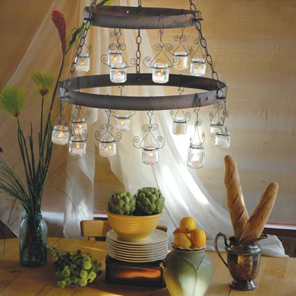 Baby food jar chandelier