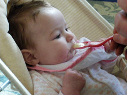 Baby Matilda eating her Holle baby food